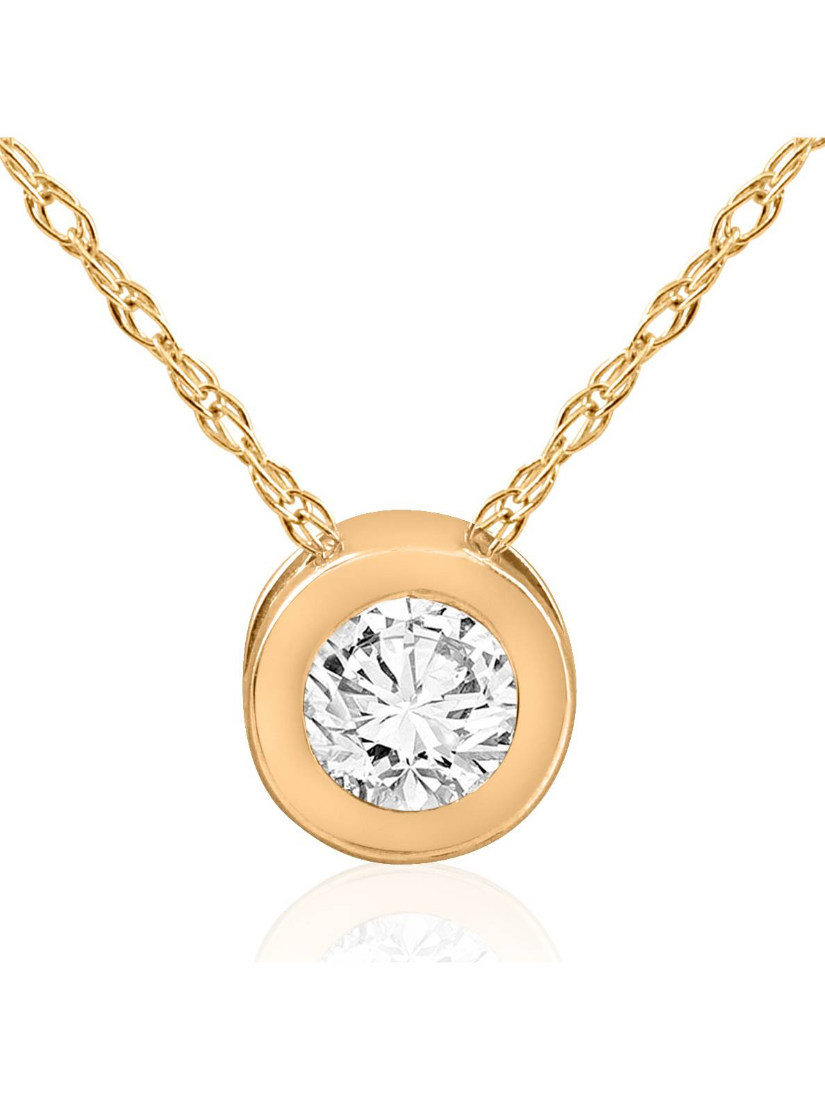 1 2 ct Solitaire Bezel Diamond Pendant 14k Yellow Gold Womens Necklace Jewelry by Pompeii3