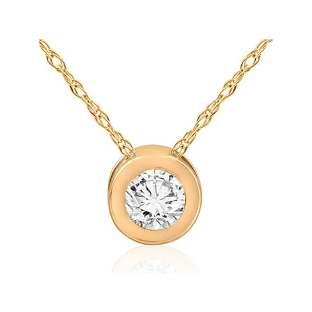 1/2 ct Solitaire Bezel Diamond Pendant 14k Yellow Gold Womens Necklace Jewelry