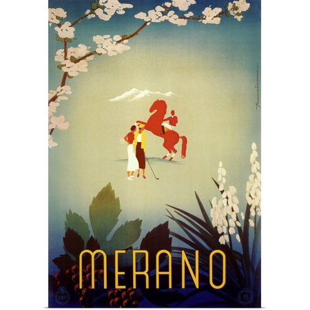 Great BIG Canvas   Rolled Vintage Apple Collection Poster Print entitled Merano - Vintage Travel Advertisement