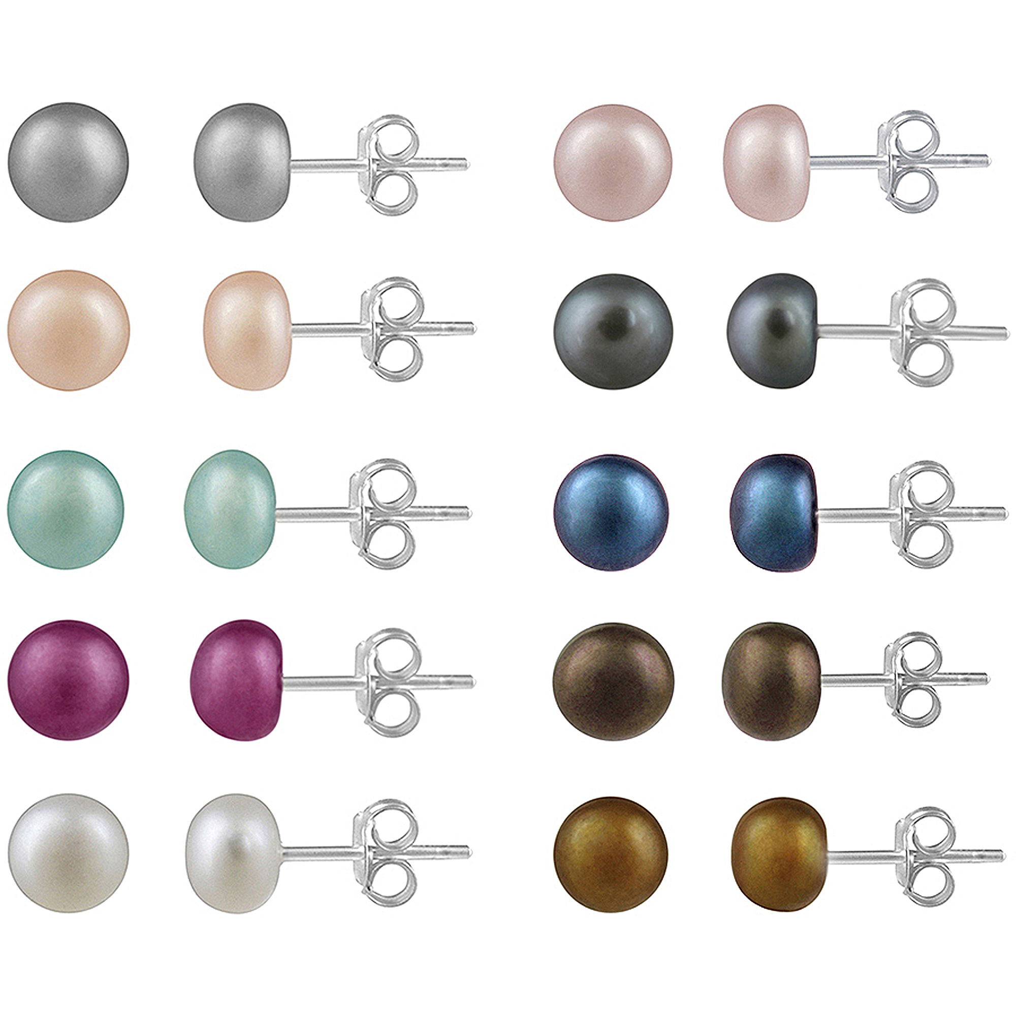 5-5.5mm Freshwater Cultured Pearl Sterling Silver  Multi-Color Stud Earrings, Set of 10