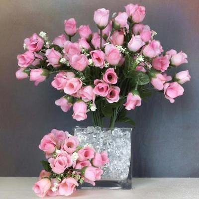 180 Artificial Silk Mini Rose Buds Wedding Bouquet Vase Center - Pink - Mini Bud Vases