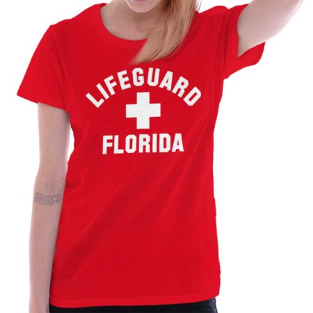 Brisco Brands Beach Lifeguard On Duty Florida Adult Short Sleeve - Dog Lifeguard Shirt