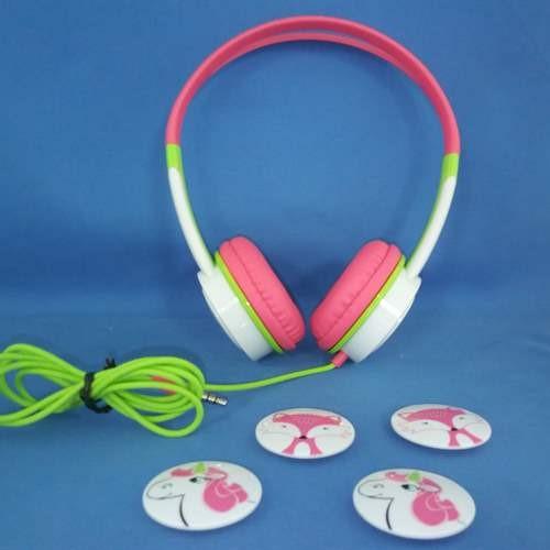 Refurbished iFrogz IFLTRC-PE0 Little Rockers Headphones, Pink/Green