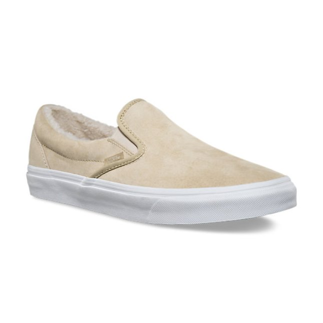Vans Classic Slip On Suede/Fleece Khaki/True White Men's Skate Shoes Size 9.5
