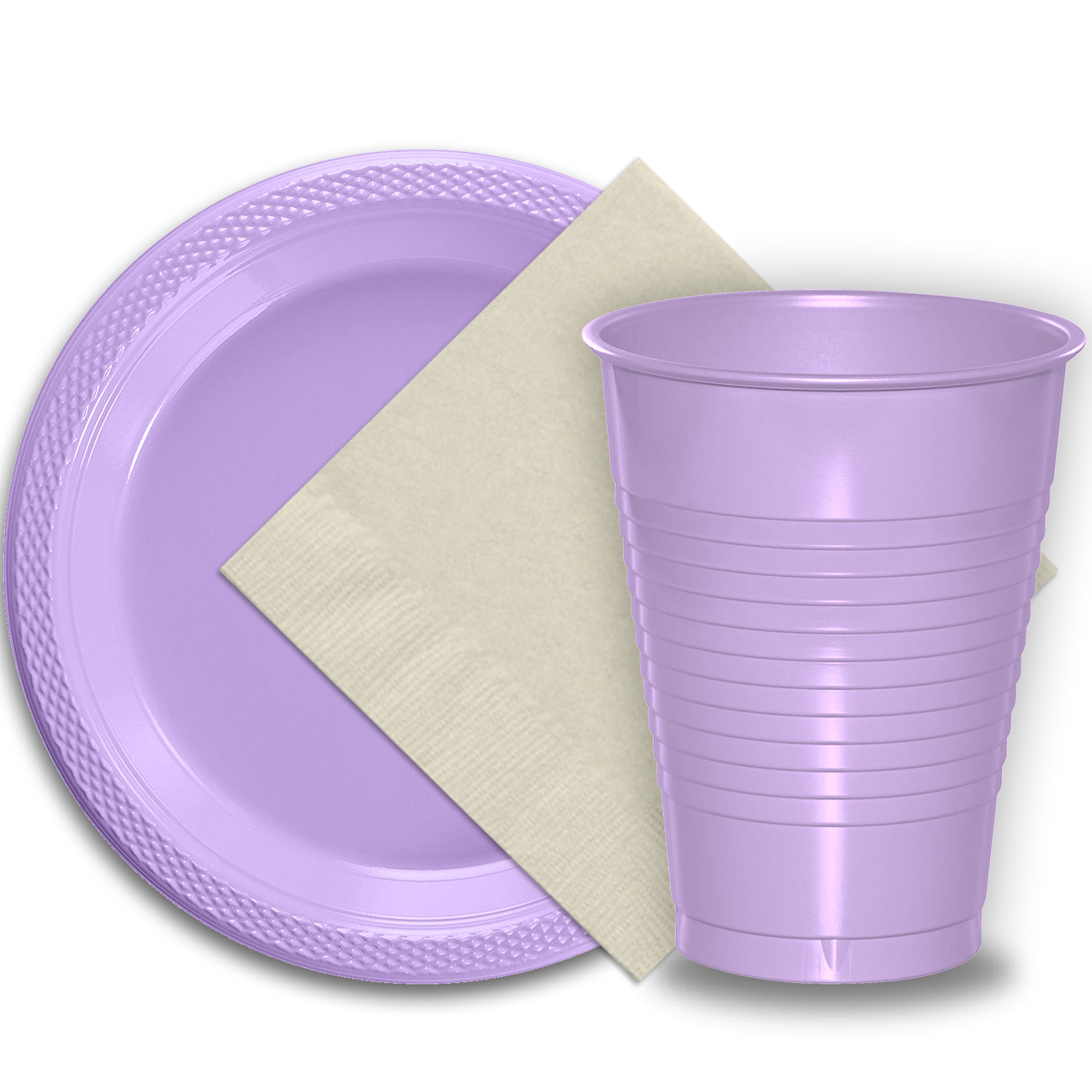 """50 Lavender Plastic Plates (9""""), 50 Lavender Plastic Cups (12 oz.), and 50 Ivory Paper Napkins, Dazzelling Colored Disposable Party Supplies Tableware Set for Fifty Guests."""