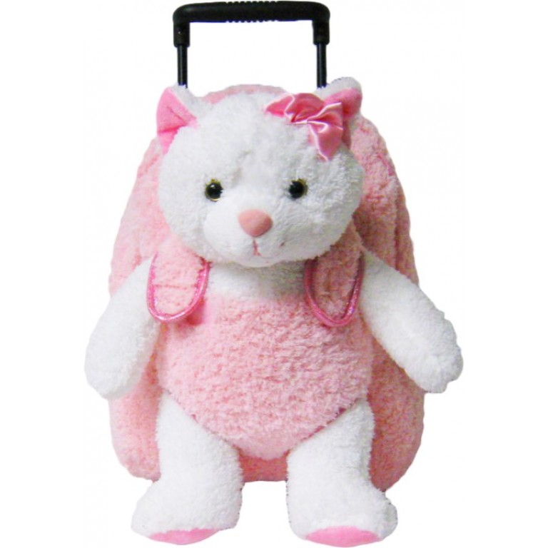 Kids Pink Kitty Cat Animal Plush Luggage Toddlers Roller Backpack