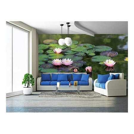 wall26 - beautiful lotus flower in the pond - Removable Wall Mural | Self-adhesive Large Wallpaper - 66x96 inches