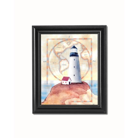 Lighthouse and Cottage on Cliff with Map #1 Black Framed 8x10 Art Print ()