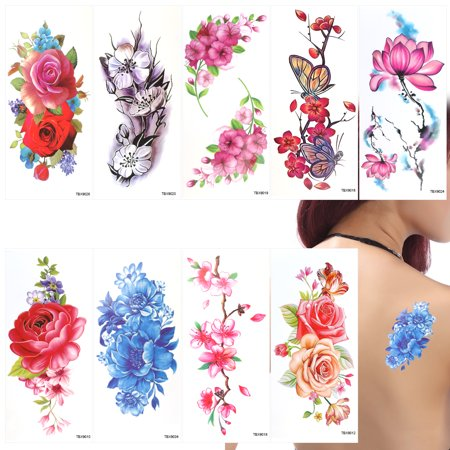 (9 Sheets Temporary Tattoo Rose Peony Flower Butterfly Lotus Cherry Blossoms Flash Tattoo for Women)