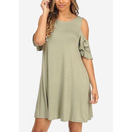 12886d72ef02 ModaXpressOnline - Womens Juniors Cold Shoulder Short Sleeve Olive Casual  Wear Above Knee Dress 30724I - Walmart.com