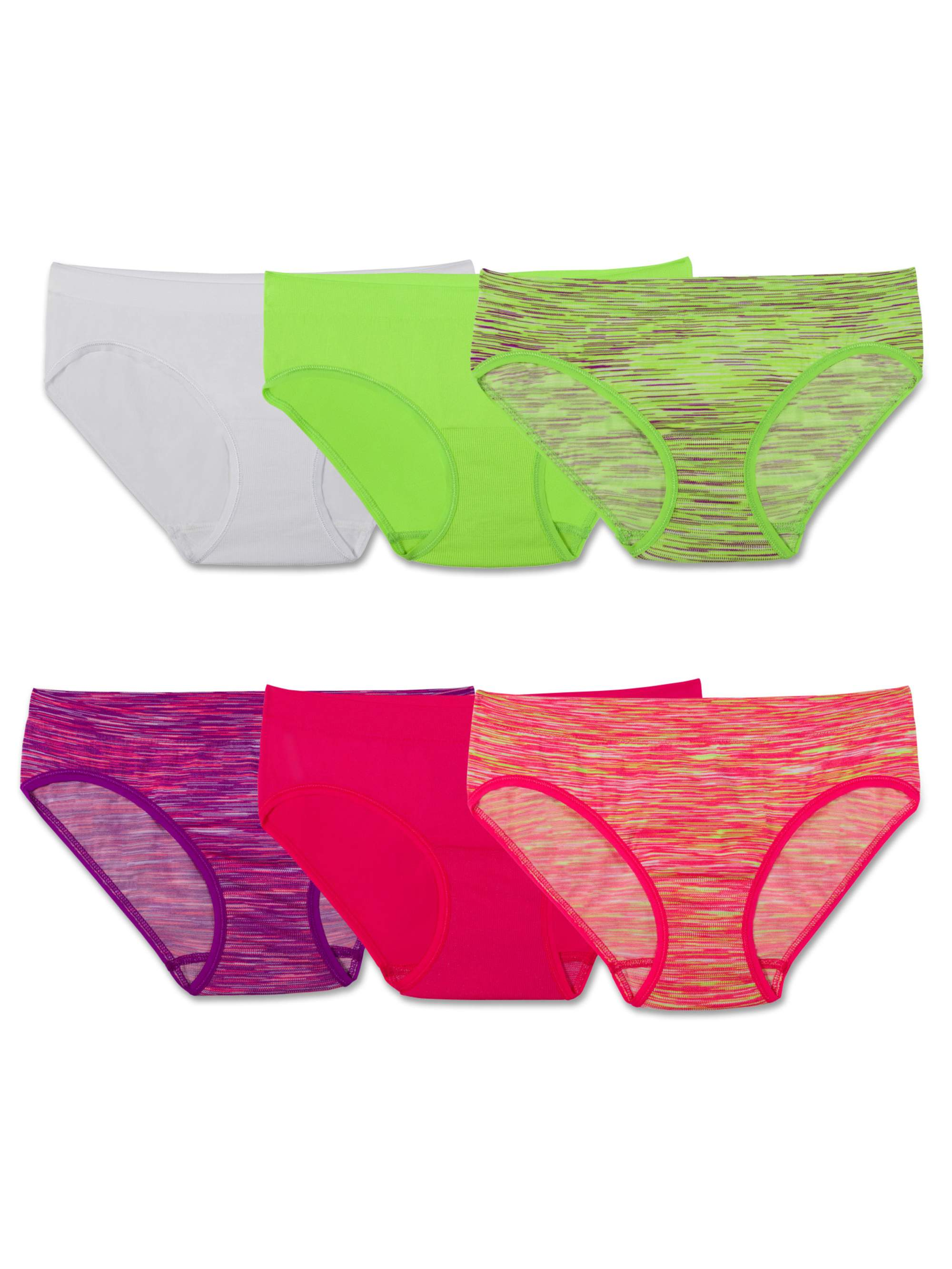 047cd4996fdc Fruit of the Loom - Fruit of the Loom Seamless Assorted Hipsters, 6 Pack  (Big Girls) - Walmart.com