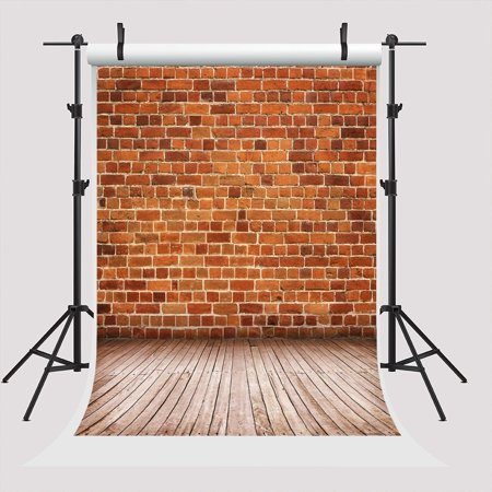 GreenDecor Polyster 5x7ft Red Brick Photo Booth Props Background Light Wood Floor Backdrop for Photography Wedding Backdrop Child,Newborn Photographers Back Drop - Backdrop For Photo Booth