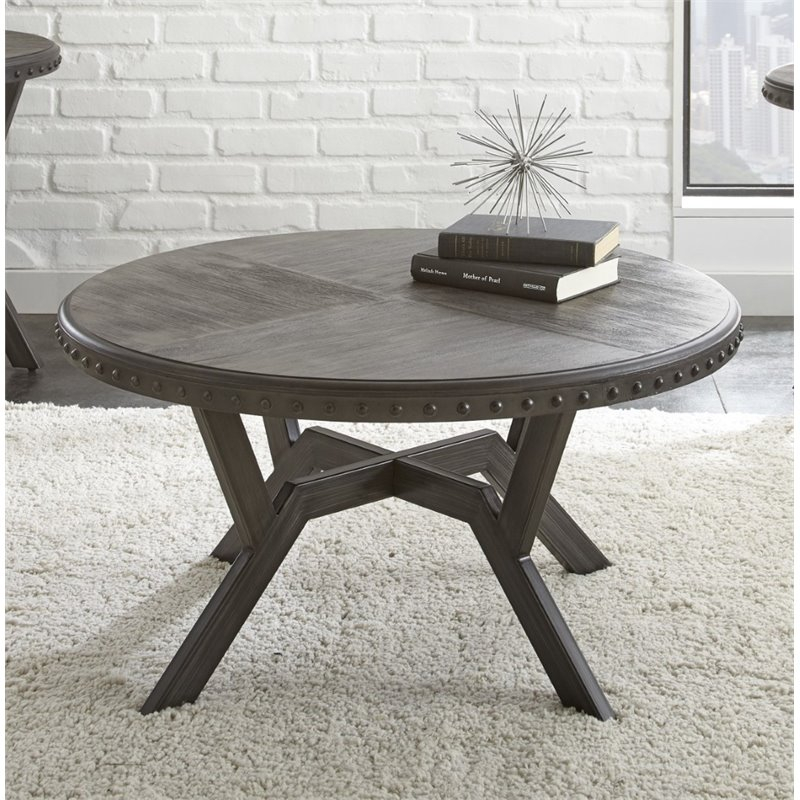 Steve Silver Alamo Round Coffee Table in Weathered Gray by Steve Silver Company