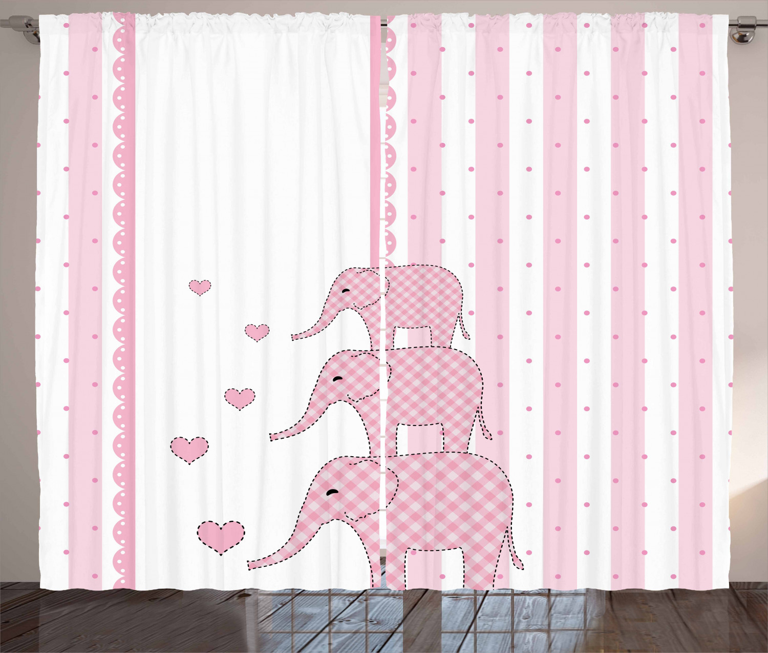 Elephant Nursery Curtains 2 Panels Set Vertical Striped Backdrop With Cute Pink Animals With Hearts Retro Window Drapes For Living Room Bedroom 108w X 63l Inches Pale Pink White By Ambesonne