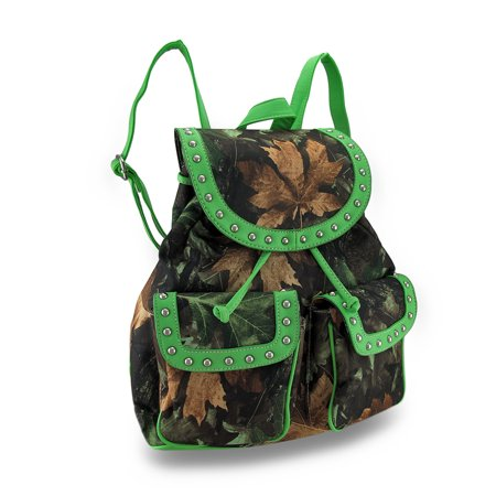 Forest Camouflage Cinch Style Backpack w/Chrome Stud Accent Trim thumbnail