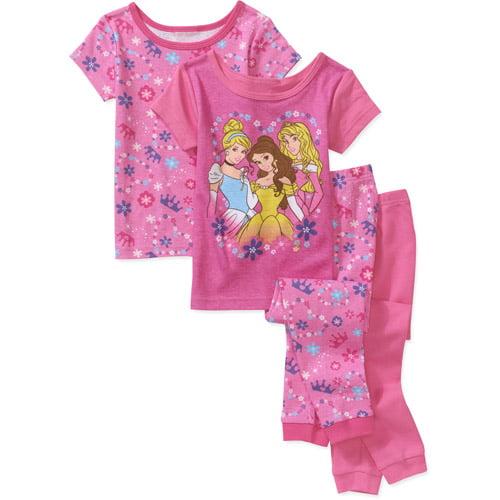 Disney Baby Girls' Princess 4-Piece Cotton PJ Set