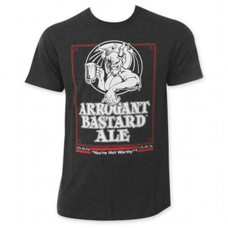 Arrogant Bastard 30016S Arrogant Bastard Mens Charcoal Beer Logo T-Shirt, Small ()