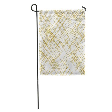 LADDKE Confetti Gold Hatch Mark Lines Faux Pattern Diagonal Shiny Garden Flag Decorative Flag House Banner 12x18 inch (Glossy Mark)
