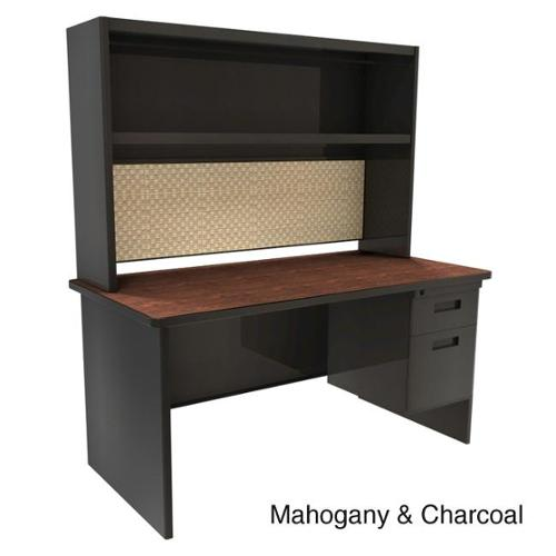 Marvel 60-inch Single Pedestal Steel Desk with Open Shelf Mahogany & Charcoal