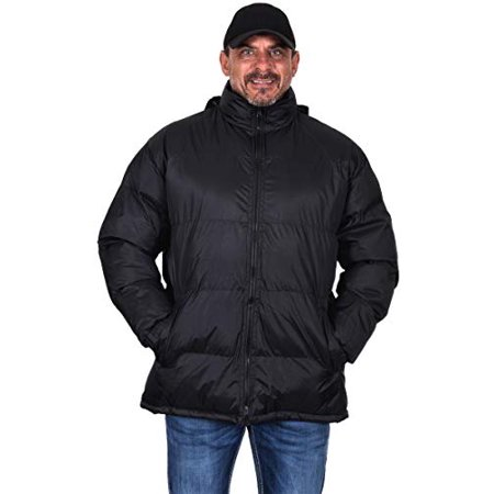 - Tallino Men's Puffer Jacket Mock Neck with Zip Off Hood a Cold Weather Jacket