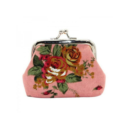 Funcee Mini Women Rose Flower Print Coin Clutch Bags Purses
