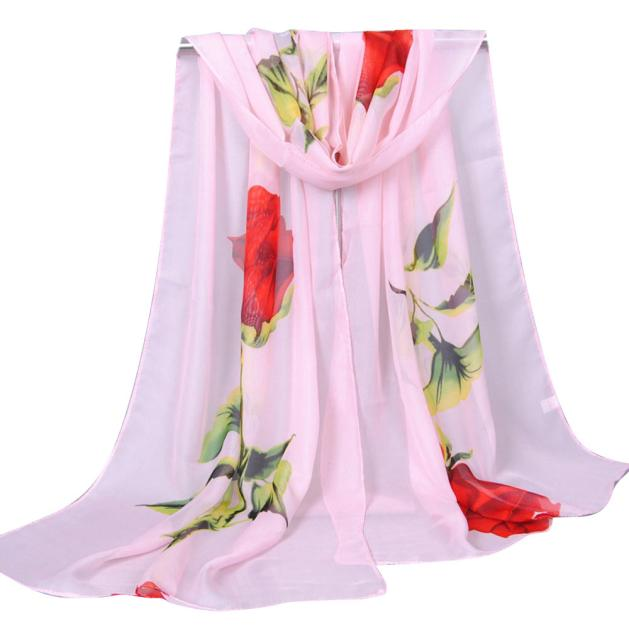Lady Long Soft Wrap Shawl Chiffon Silk Flower Scarf Scarves Fashion For Women