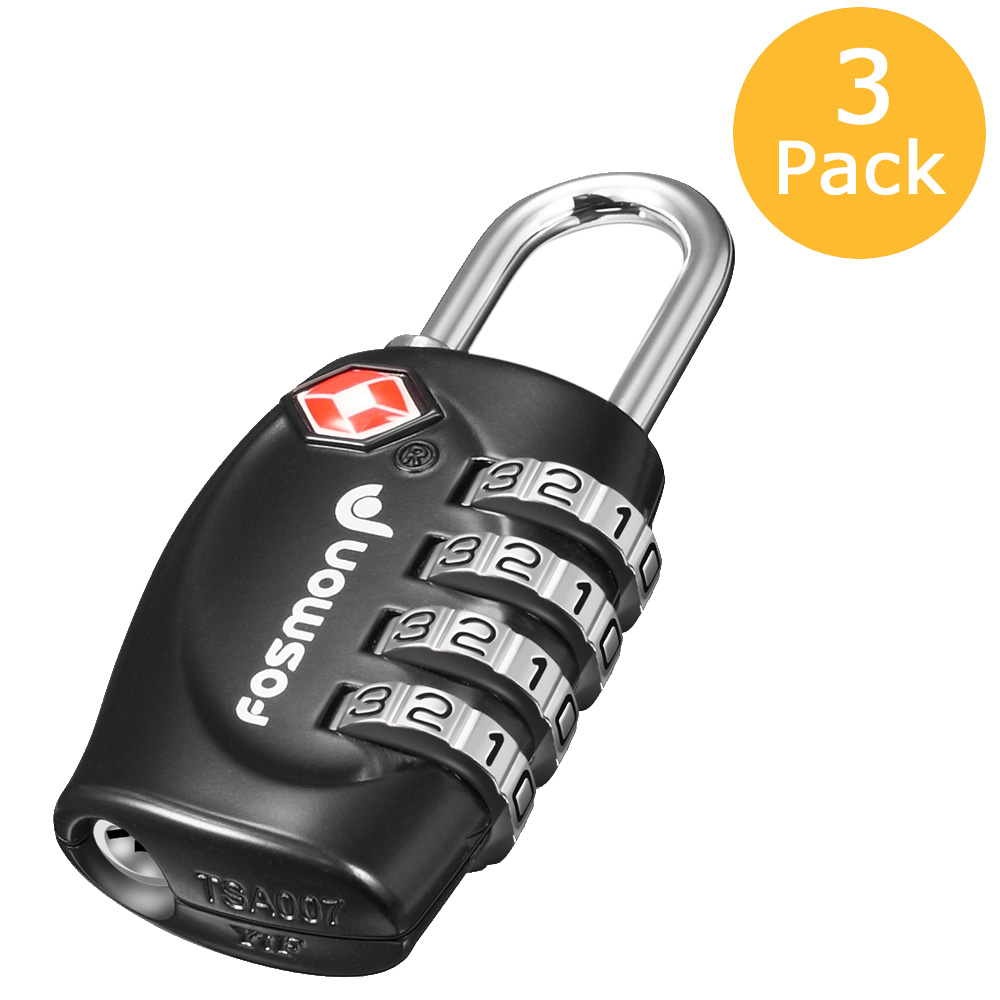 Fosmon [3 Pack]  Luggage Locks, TSA Approved 4 Digit Combination Resettable Padlocks for Travel Suitcase - Black