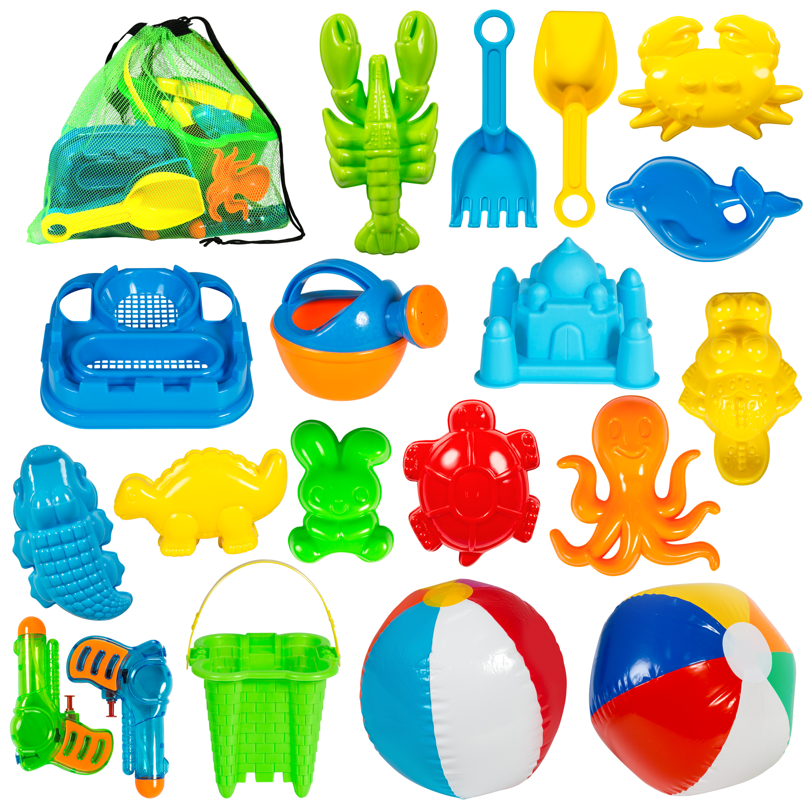 Best Choice Products Kids 20 Piece Beach Sand Toys Play Set w  Beach Balls, Mesh Carrying Bag, Water Guns by