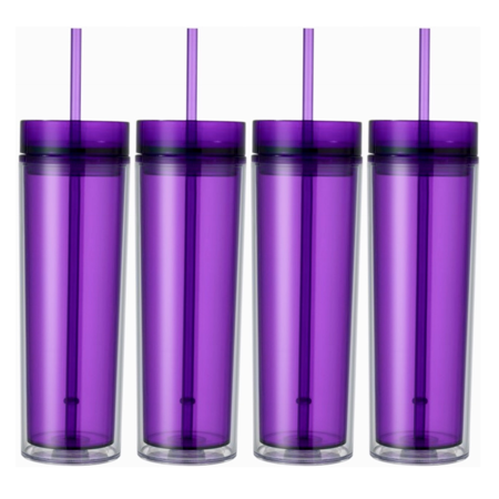 Set of 4 Purple Tall Skinny Tumblers, Acrylic 16 Ounce Tumblers with Straw Arkansas 12 Ounce Tumbler