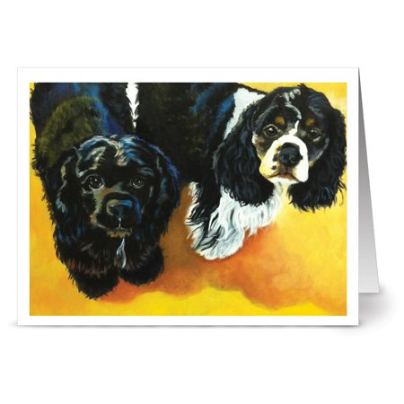 24 Note Cards - Cuddly Cocker Spaniels - Blank Cards - Kraft Envelopes Included