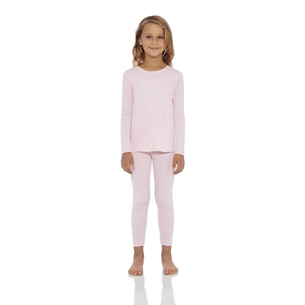 Rocky Girl's Smooth Knit Thermal Underwear 2PC Set Long John Top and Bottom Pajamas (Pink, XL)