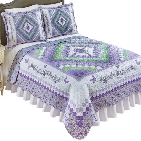 Reversible Elegant Diamond Floral Quilt with Scalloped Edges, Matching Floral Pattern on Reverse Side, Full/Queen, Lavender ()