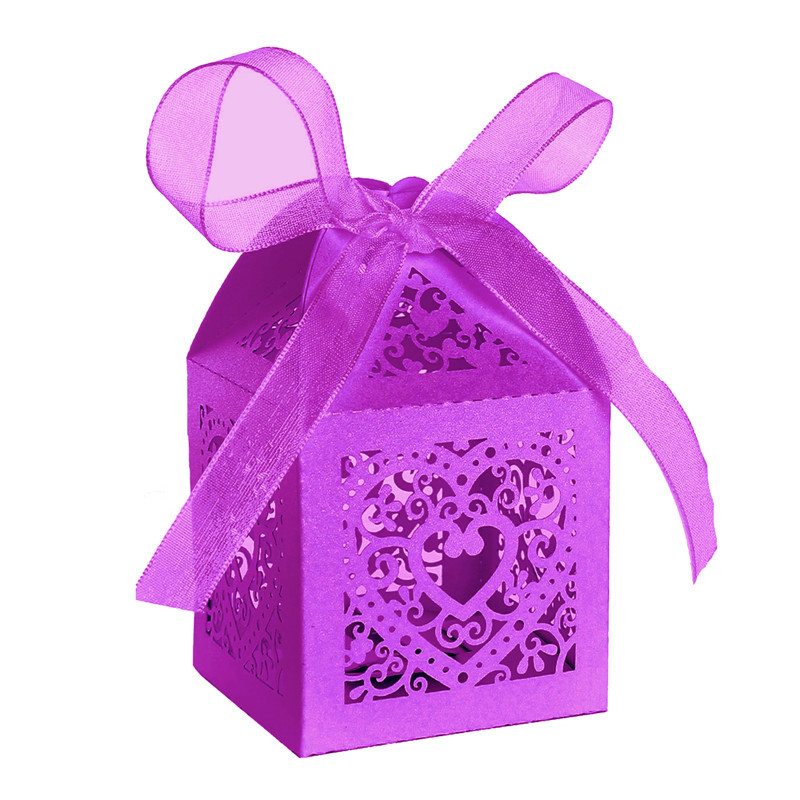 Candy Favor Box + 50pcs Love Heart Candy Boxes Love Heart Gift Bag for Wedding Party Bridal Birthday Shower with Ribbons
