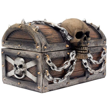 Spooky Halloween Store (Evil Skull on Treasure Chest Trinket Box Statue with Hidden Storage Compartment for Decorative Gothic Décor or Spooky Halloween Decorations As Jewelry Boxes or Fantasy Office)