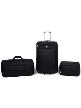 Protege 3 Piece Luggage Travel Set Black, Includes 24-inch Check Bag, 22-inch Duffel, and Boarding Tote