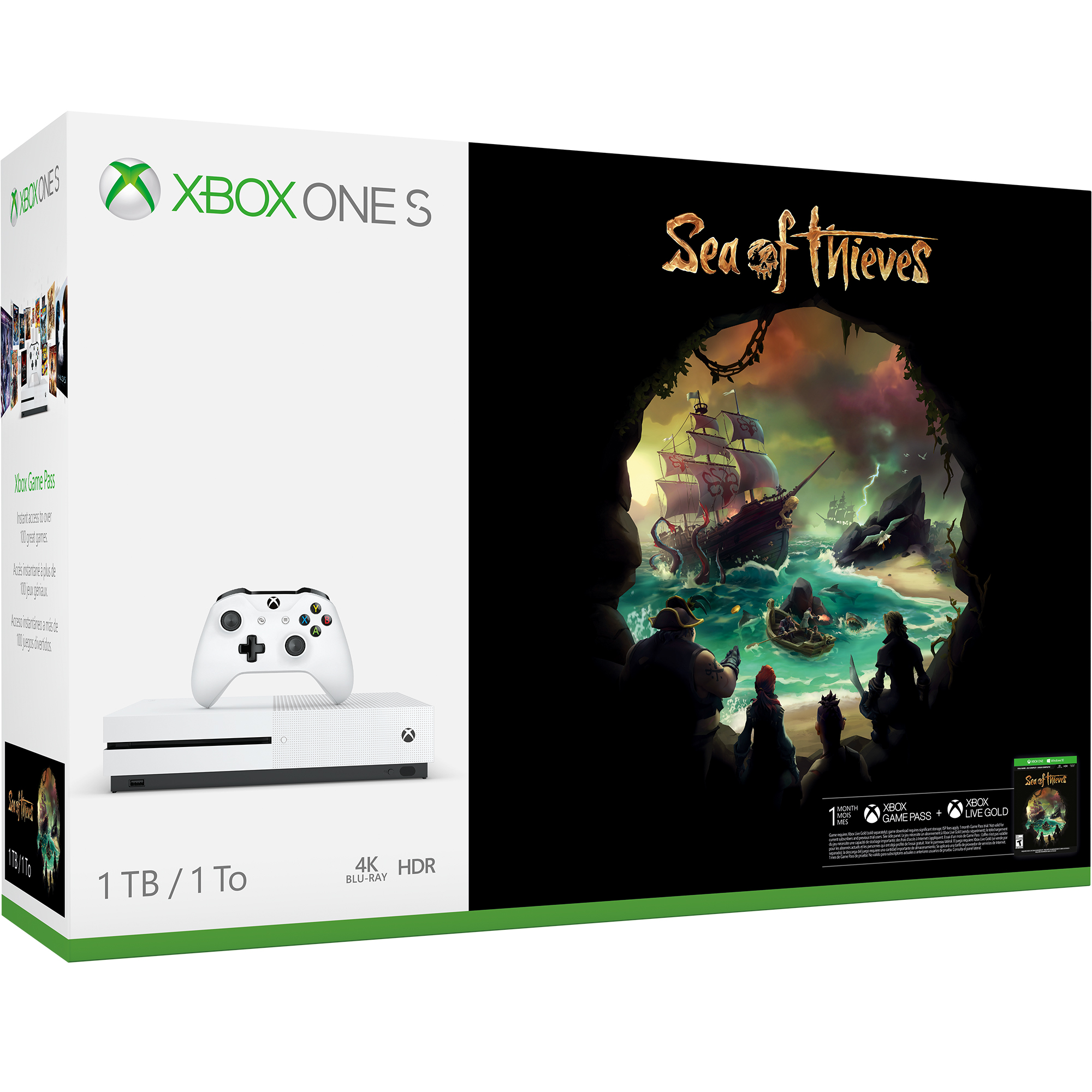 Microsoft Xbox One S 1TB Sea of Thieves Bundle, White, 234-00324