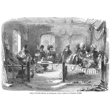 Ukraine Cafe 1855 Nmen Smoking Pipes At The Cafe National Simpheropol Ukraine Wood Engraving English 1855 Rolled Canvas Art -  (24 x 36)
