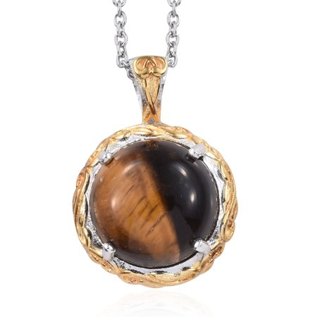 Womens Tigers Eye 925 Sterling silver/Stainless steel Chain Pendant Necklace for Women Jewelry (Tigers Eye Cross)