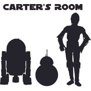 Star Wars Robot Clone Cartoon Character Design Customized Wall Art Vinyl Decal - Custom Vinyl Wall Art - Personalized Name - Baby Girls Boy Bedroom Decal Room Wall Sticker Decoration Size (10x8 inch)