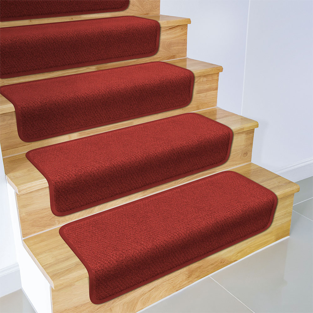 Set of 12 Overstep Attachable Carpet Stair Treads - Brick Red - 17 In. X 30 In.
