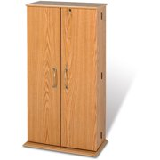 Tall Locking Media Storage Cabinet, Brown