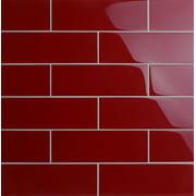 "WS Tiles - Premium Series Individual 4"" x 12"" Glass Subway Tile in American Red - 5 square feet carton"