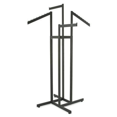 Clothing Rack – Heavy Duty Black 4 Way Rack, Adjustable Arms, Square Tubing, Perfect for Clothing Store Display With 2 Straight Arms and 2 Slanted Arms Econocos 4 arm clothing rack is the premiere clothing rack for store display! This fixture for clothing has 4 arms, two of the arms are slanted and two of the arms are straight. This allows for any store to place their clothing on this clothing store display rack any way that best fits their needs. With the arms being independently adjustable on this clothing rack it allows the customer to put the arm anywhere from 48 to 72 with 3 increments. Not only does this 4-arm clothing rack have adjustable arms but it is a Black Matte finish for the ultimate showroom look. With this clothing store display rack being Black it adds to the ambiance of any store or boutique that you choose to place this clothing rack. With the clothing rack weighing 35 pounds you can rest assured no matter where you place this clothing rack that it will stay put where it is meant to. With this clothing store rack having four arms you can easily place a dozen items of clothing on this rack, and have it displayed and readjusted to whatever needs fit your store the best! Includes adjustable levelers. Entire rack is made of rectangular tubing with arms measuring 1/2 X1-1/2 .