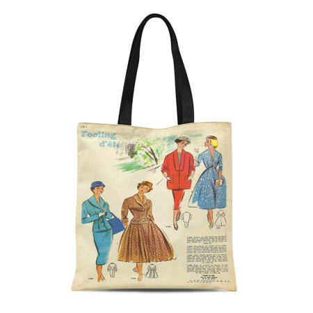 ASHLEIGH Canvas Tote Bag Mid French Dress Elegant Woman Century Summer 1950S France Reusable Handbag Shoulder Grocery Shopping -