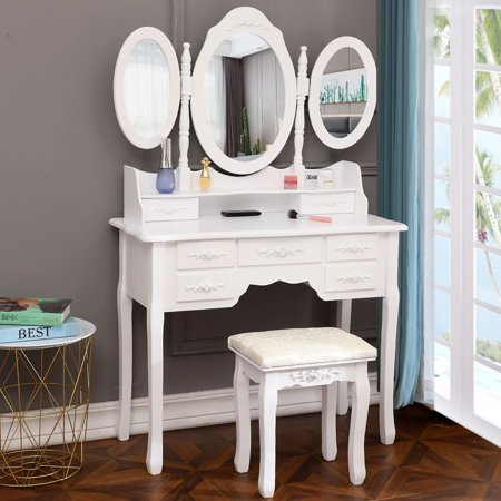 Makeup Vanity Table, Vanity Set with Tri-Folding Mirror, Wood Dressing Table with Stool and 7 Drawers Storage Bedroom Furniture for Girls Women - Dressing Up Ideas For Girls