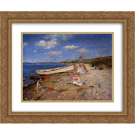 William Merritt Chase 2x Matted 24x20 Gold Ornate Framed Art Print 'A Sunny Day at Shinnecock Bay'