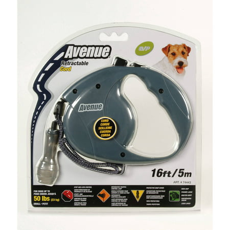 AV Retract Cord Leash, Small, 16', - Gray Leash