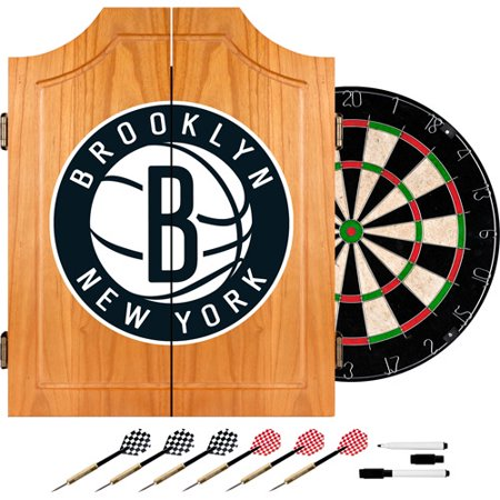 Trademark Global Brooklyn Nets NBA Wood Dart Cabinet Set by