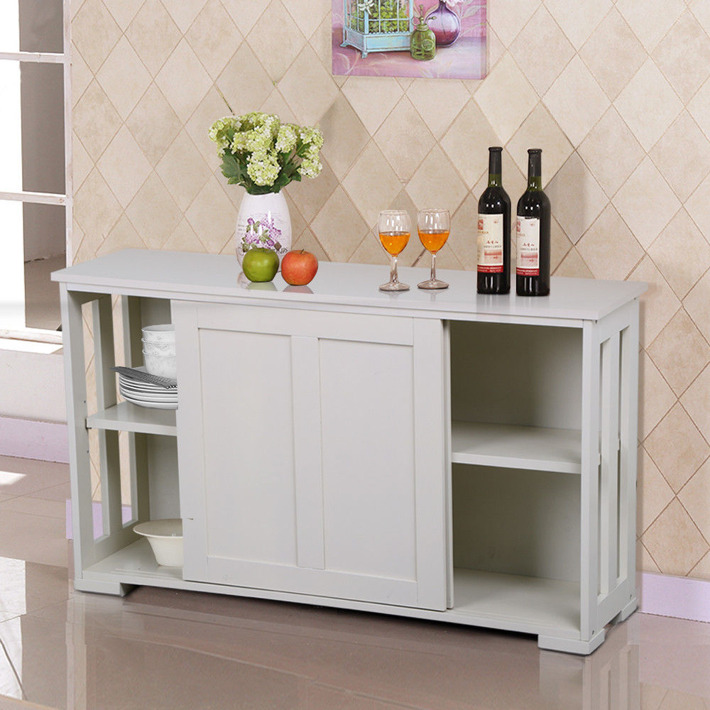 Storage Cabinet Sideboard Buffet Cupboard Pantry Kitchen w/ Sliding Door Display