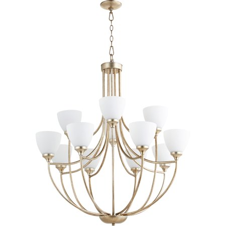 Chandeliers 12 Light With Aged Silver Leaf Finish Satin Opal Glass Medium Base Bulbs 35 inch 720 Watts